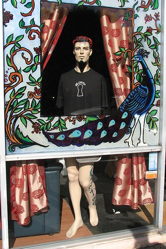 Mannequin in the window, Skeleton Key Tattoo, Portland, Oregon