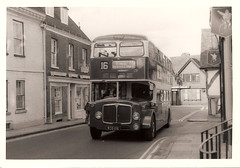 King Alfred bus, WCG 106, 1959 AEC Bridgemaster, Winchester, November 1972 (mikeyashworth) Tags: hampshire winchester 1972 aec aecbus parkroyalvehicles kingalfredmotorservices aecbridgemaster wcg106 kingalfredbus 11november1972 mikeashworthcollection
