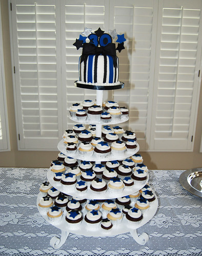 Police Retirement Blue Black and Silver Cupcake Tower