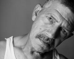 mon père: un portrait (b*wag) Tags: portrait blackandwhite bw face eyes dad expression father strobist