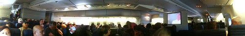 Panoramic image of our airplane to Tokyo (taken with the iPhone app Pano)