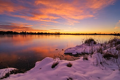 Halloween's First Blush (Fort Photo) Tags: morning winter sky lake snow reflection nature clouds sunrise landscape dawn nikon bravo colorado glow fort fortcollins co openspace collins 2009 daybreak morn firstlight d300 naturalarea riverbendponds tokina1116