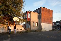 Street Basketball, Camden (metroblossom) Tags: street sunset building basketball hoop children newjersey basket sundown camden teenagers lc residential derelict e1 dereliction rowhouse img1903