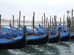 Blue Gondolas (nuframe) Tags: venice italy streets reflections taxi perspective greenlantern waterways waterbus linedup inarow watertransport watertaxis blueboats flickrunitedaward bluegondolas