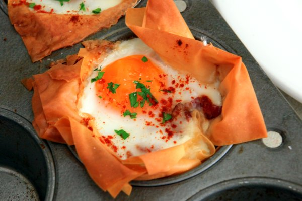 baked egg yum in phyllo