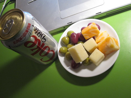 Diet Coke, olives an cheese from the bistro - free