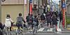 Parade of cycling school kids in Matsumoto, Japan (JohannSchmidt) Tags: autumn tower castle japan jo matsumoto nagano naganoprefecture 松本城 matsumotojo matsumotocastle hirajiro