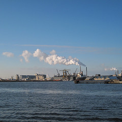 industry in blue (Harry -[ The Travel ]- Marmot) Tags: blue winter urban haven west holland industry water netherlands amsterdam square landscape harbor industrial view harbour smoke air nederland steam clear rook industrie ij ndsm noord harber stoom amsterdamnoord vierkant 500x500 zijkanaal