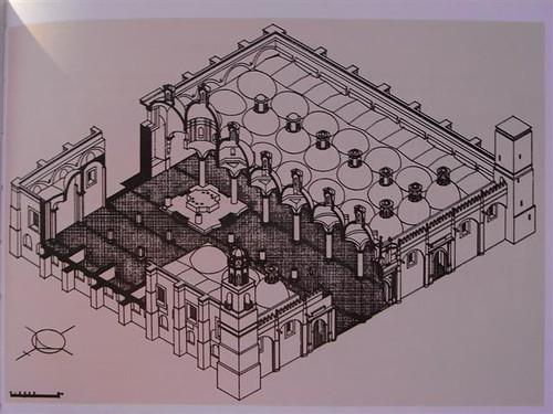 Perspectiva axonométrica de la Capilla Real de Cholula.
