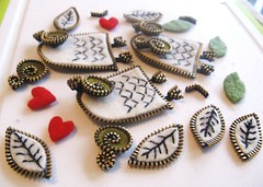 Bits and pieces for the owl brooches. (woolly  fabulous) Tags: white wool leaf pin heart recycled brooch felt owl zipper newbirds embroisered