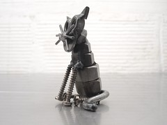 Nuts and bolts cat sculpture, Sparkle