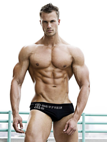 sexy shirtless muscle male model wearing hot jock underwear