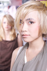 asian blond beauty (trichomania) Tags: portrait woman haircut girl asian photoshoot makeup blond short markweston ditafil