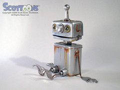 Rusty the boy robot (Scottoons) Tags: boy sculpture metal scott robot rust paint assemblage rusty recycle foundobject android bot sauer scottoons