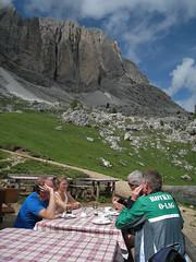 Dolomites, Val di Fassa, Sassolungo Group :From Sandro Pertini Hut, under Innerkofler Tower