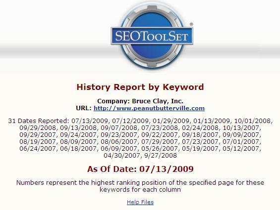 SEOToolSet report page