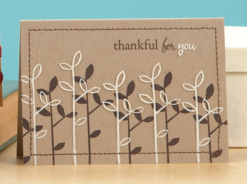 I love the way Jessica transformed plain kraft cardstock into this amazing card with a few stamps and a little ink – now THAT is talent!