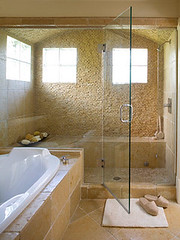 Stone Shower and bathroom (decorology) Tags: betterhomesandgardens bathroomrenovation whiteinteriors summerdecorating brightbathrooms