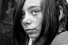 skyler after the rainbow (stoneth) Tags: poverty sf sanfrancisco california ca street portrait people blackandwhite bw woman white black eye girl beautiful face closeup kids female youth person blackwhite eyes nikon day poor young photojournalism social impoverished human superfantastique grayscale nikkor 2009 begging destitute drifter streetshot d300 nikond300