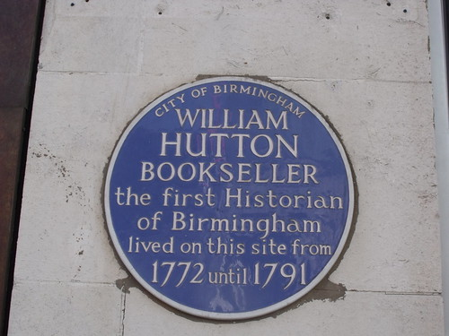 Blue plaque - William Hutton Bookseller