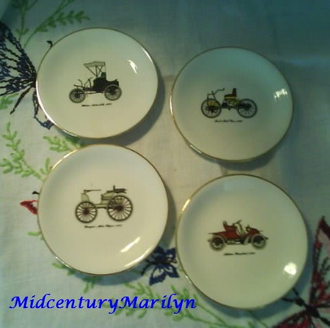 Harkerware Decorative Plates Antique Car Motif Set of Four 4 1/2