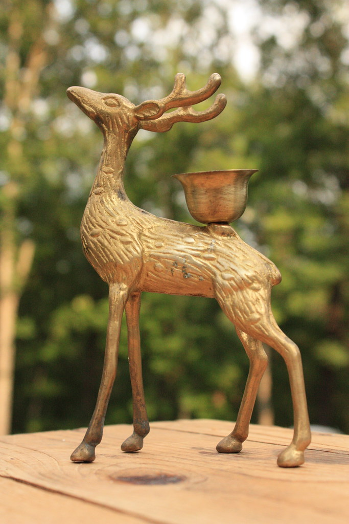 Vintage Brass Deer Candle Holder