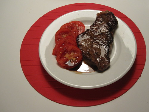 Steak and tomatoes - from groceries