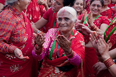 Teej Festival - A Celebration of Women (izahorsky) Tags: nepal red fun fire dancing kathmandu saris teej womensfestival