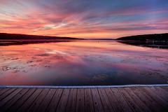 9.9.09 Sunset ([Adam Baker]) Tags: blue sunset orange lake reflection clouds canon dock purple centralnewyork ithaca portfolio fingerlakes cayuga thirds 1740l photomatix lakescum adambaker 9909 5dmarkii exposurefusion ihadsunflowersfortodaybuttheyllhavetowait thosecolorsarereal