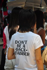 Good advice....don't be a back stabber!