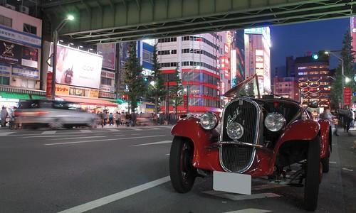 a classic car in edge city.