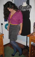 Grey Skirt, Magenta Shrug, Mustard Cammi, Grape Wedges (LyddieGal) Tags: selfportrait fashion wardroberemix metallic style tights skirt wardrobe hm poeticlicense