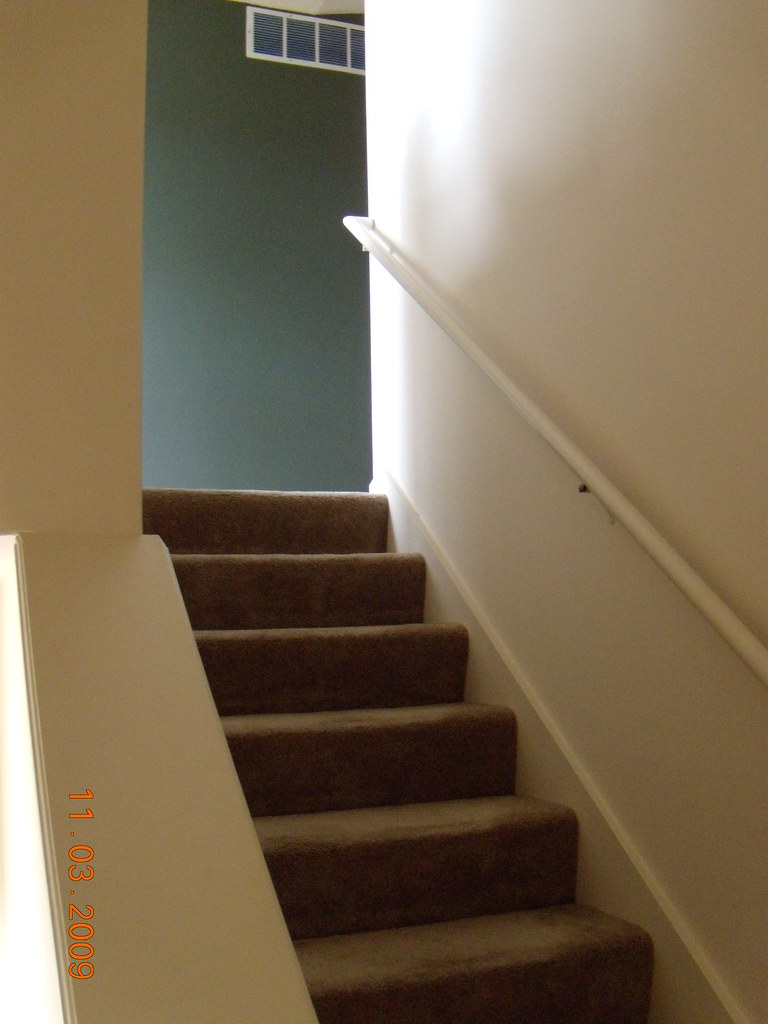 Looking up the stairs (my new painted wall!!!)
