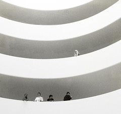 Visitors (Visualtricks) Tags: light people bw newyork five textures guggenheimmuseum
