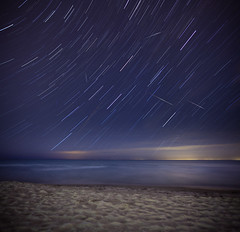 Leonids and Star Trails (Mute*) Tags: longexposure lake toronto blur beach water stars sand montage blended lakeontario streaks startrails meteors leonids sigma20mmf18 vertorama
