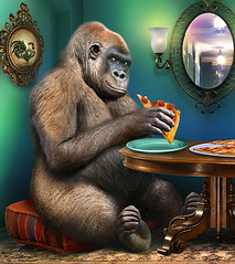 Gorilla Eats Pizza (Gale Franey) Tags: photoshop gorilla digitalart computerart childrensbook computergraphics childrensart galefraney galefra photoshopcs4