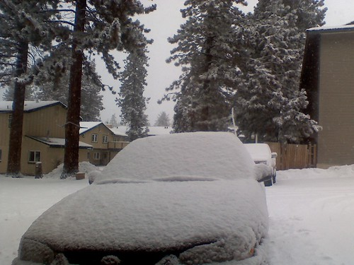 Waking up to snow falling in Tahoe. You can barely see our Toyota #fb