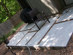 Geometric concrete pad patio