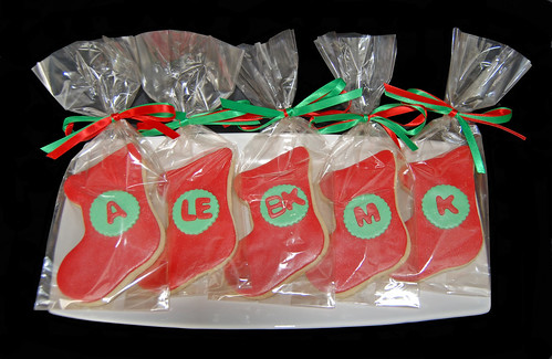 Christmas stocking monogram sugar cookies