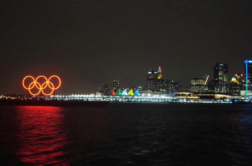 NYE Vancouver: Olympic Rings in Harbour and Olympic Colours Light Show at Canada Place