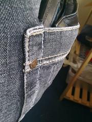 08032010067 (Wallet_85) Tags: black leather wallet jeans bulge backpocket fatwallet bulgebackpocket