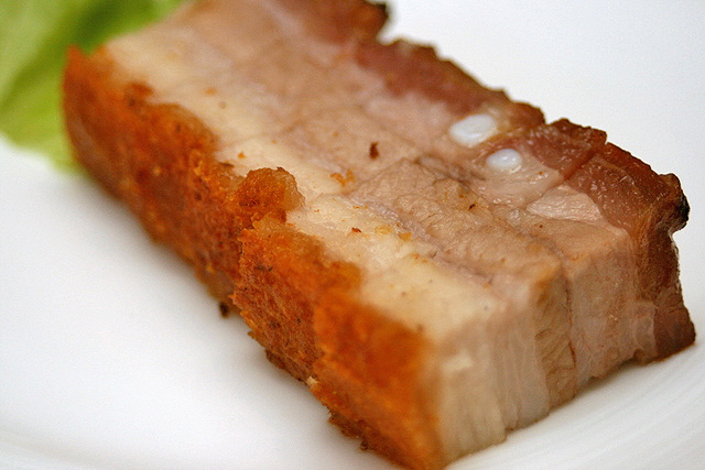 Roasted pork belly with five spice and sea salt