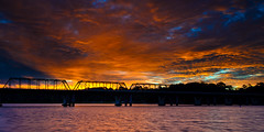 Blazing Bridge (Rodney Campbell) Tags: bridge sunset sky water clouds river places nowra shoalhaven bomaderry gnd09
