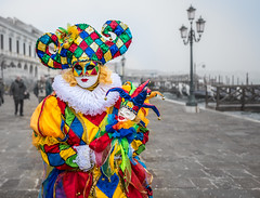 Colombina in fog, Venice Carnival 2017 (Sergey Galyonkin) Tags: 2017 canal carnival channel city fog italy sea venice water