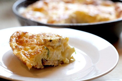 Smoked cod & goat's cheese frittata