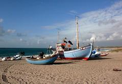Traditional (Kirsten M Lentoft) Tags: sky beach water clouds denmark boats fishing sand gear northsea jutland vesterhavet klitmøller abigfave kirstenmlentoft