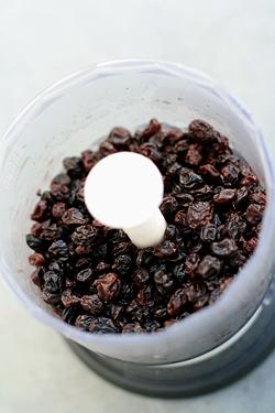 raisins in processor
