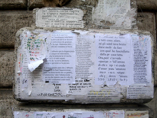 Notes attached to Pasquino statue, Rome