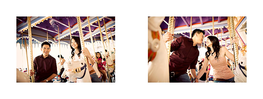 disneyland carousel vintage engagement session on horses pg05