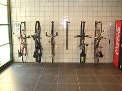 Wall mounted bike racks at Damen Brown Line